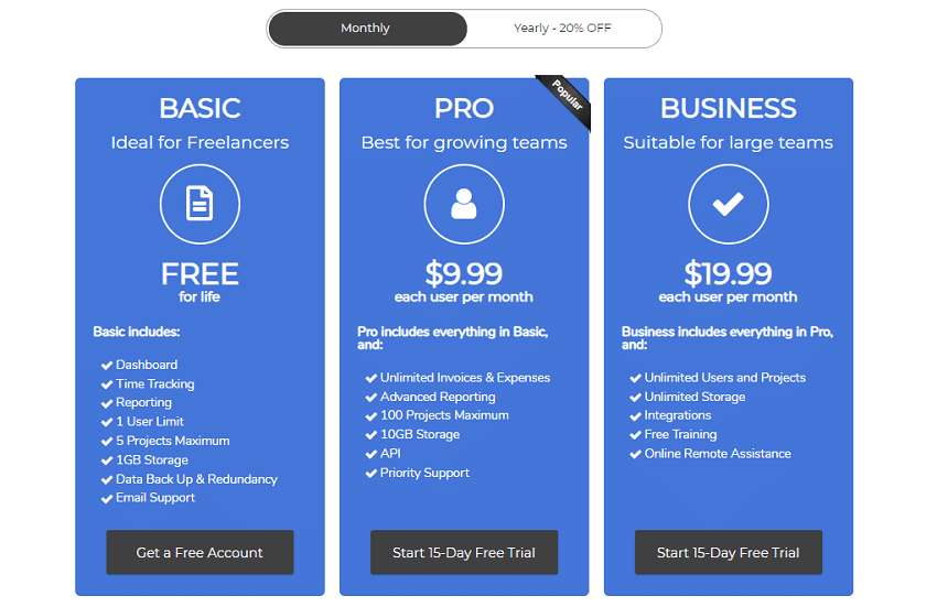 Cheap Business Plans - Monthly